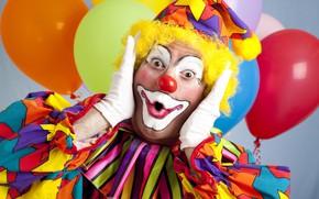 Wallpaper balls, face, background, surprise, clown, outfit, gloves, air, bokeh, makeup