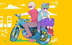 Picture motorcycle, guys, My hero Academy, My Hero Academia, Boku No Hero Academy, Midori Isuku, Bakuga …