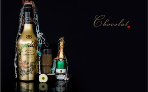 Picture glass, chocolate, bottle, black background, chocolates, Chocolate drink