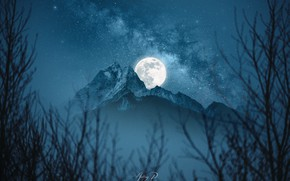 Picture moon, Space, night, space art