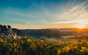 Picture forest, the sun, mountains, rocks, Germany, Elbe Sandstone mountains