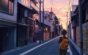 Picture road, the city, street, My Hero Academia, Boku No Hero Academy, Midori Isuku, Izuku Midoriya, …