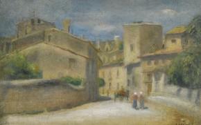 Picture picture, the urban landscape, 1905, Pierre Auguste Renoir, Pierre Auguste Renoir, Street in Villeneuve-Les-Avignon