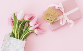 Picture background, pink, gift, bouquet, tape, tulips, mother's day