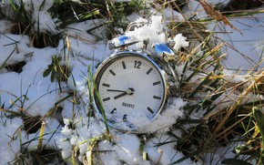 Picture grass, snow, watch, alarm clock, spring is coming