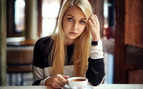Wallpaper look, pose, model, coffee, portrait, makeup, hairstyle, blonde, Cup, beauty, sitting, bokeh, at the table, ...