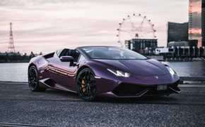 Picture Lamborghini, supercar, Spyder, 2018, purple, Huracan