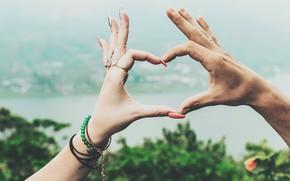 Picture heart, hands, bracelet, manicure