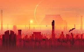 Picture Sunset, The sun, The city, Skyscrapers, Building, City, Art, Fiction, Josef Bartoň, by Josef Bartoň, …