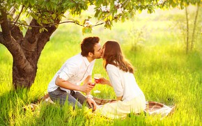 Picture girl, the sun, happiness, wine, kiss, male, lovers, on the grass