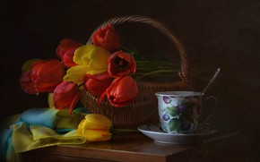 Picture flowers, table, basket, spring, Cup, tulips, dishes, still life, drape