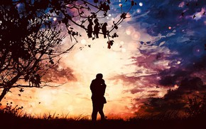 Picture sunset, nature, lovers