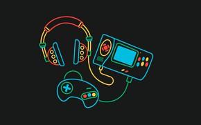 Picture joystick, black background, vector graphics, SEGA Genesis