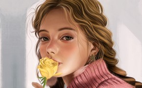Picture pink, grey background, sweater, portrait of a girl, yellow rose, Vincent Chu
