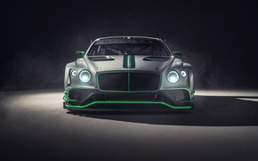 Picture Bentley, Continental, racing car, front view, GT3, 2018