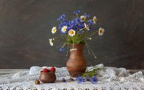 Wallpaper Klubnika, cornflowers, chamomile, still life, flowers