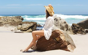Picture sand, sea, beach, summer, the sky, girl, the sun, stones, shore, hat, girl, summer, beach, …