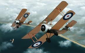 Picture art, WW1, AVIATION, BIPLANE, AIRPLANE
