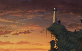 Picture Sunset, Clouds, The evening, Open, Lighthouse, Style, The building, Hill, Clouds, Architecture, Art, Art, Style, …