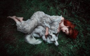 Picture summer, grass, leaves, girl, nature, pose, grey, animal, white, feet, glade, sleep, the situation, tale, …