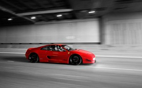 Picture Ferrari, Red, Speed, F355, Tunnel, Black & White