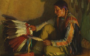 Picture pen, shadow, Joseph Henry Sharp, The War Bonnet