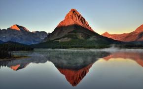 Picture Sunset, Nature, Reflection, Fog, Lake, Mountain, Landscape