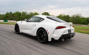 Picture white, coupe, back, Toyota, track, Supra, the fifth generation, mk5, double, 2020, 2019, GR Above, …