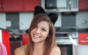 Picture girl, sweetheart, beauty, girl, laughs, cat ears