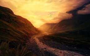 Picture Sunset, The sky, Water, Nature, Clouds, The evening, Mountains, Sunrise, Mountain, Morning, Birds, Dawn, Stream, …