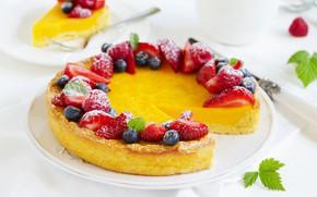 Picture berries, blueberries, strawberry, cake, dessert, lemon