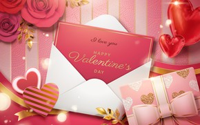 Picture flowers, background, gift, the inscription, hearts, Valentine, Happy, Valentine Day, A Love you