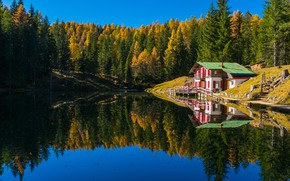 Picture autumn, forest, landscape, nature, lake, house, reflection, Bank