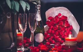 Picture flowers, bottle, roses, candle, bouquet, candles, petals, glasses, champagne, Romantica