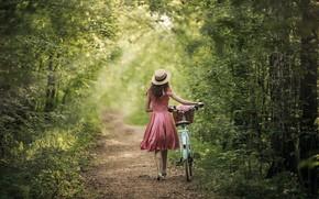 Picture girl, light, nature, bike, back, dress, Anastasia Barmina