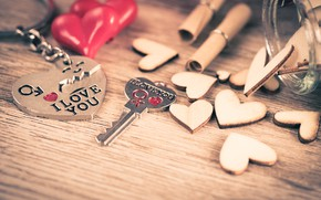 Picture love, heart, key, red, love, keychain, heart, key, romantic, I love You