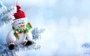 Picture winter, branch, Snow, Hat, New year, Scarf, Snowman