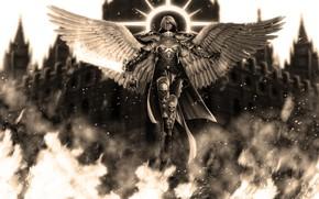 Picture girl, angel, skull, Warhammer 40k