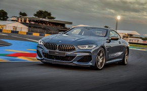 Picture coupe, track, turn, BMW, Coupe, 2018, gray-blue, 8-Series, pale blue, M850i xDrive, Eight, G15