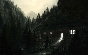 Picture black & white, dark, horror, forest, mountains