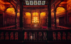 Picture ladder, chandelier, stained glass, columns, chandelier, stairs, columns, stained glass, Hernan Calderon Velasco