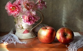 Picture flowers, apples, bouquet, still life, two apples