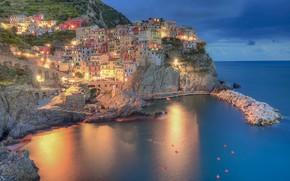 Picture sea, lights, home, Italy, Manarola