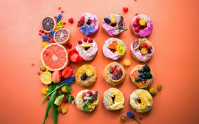 Picture flowers, berries, cookies, tulips, cake, fruit, orange background, cream, a lot, different, dessert, grapefruit, sweet, …