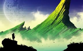 Picture girl, rock, silhouette, green, peak