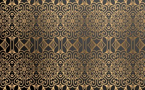 Picture pattern, texture, black background, gold, ornament, background, color, Luxury, ornamental
