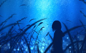 Picture water, girl, night, nature, by jw