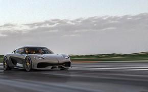Picture road, movement, speed, Koenigsegg, 2020, Gemer