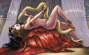 Picture Girl, Figure, Snake, Egypt, Fantasy, Erotic, Art, Illustration, Cleopatra, Queen, Mike Ratera, by Mike Ratera, …