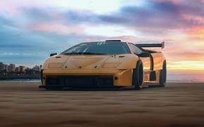 Picture Auto, Yellow, Lamborghini, Machine, Diablo, Rendering, Lamborghini Diablo, Transport & Vehicles, Rostislav Prokop, by Rostislav …
